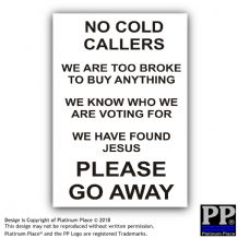 No Cold Calling, Go Away-Black,White-Jesus,Sticker,Sign,Notice,Warning,Broke